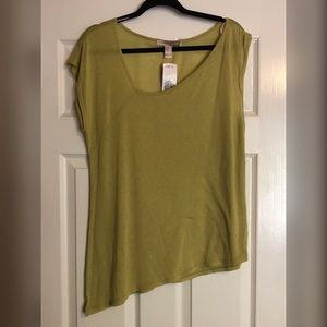 Love21 Asymmetrical chartreuse green top